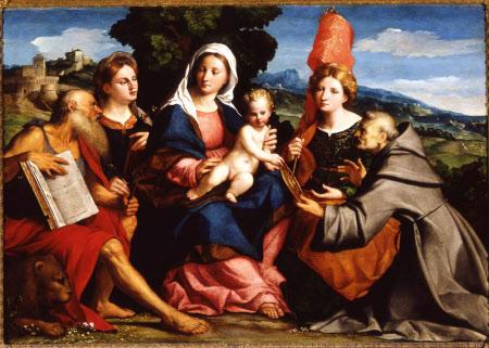 Sacra Conversazione with Saints Jerome, Justina, Ursula and Bernardino of Siena