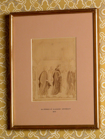 Benjamin Disraeli, 1st Earl of Beconsfield, MP, PC, FRS, KG (1804-1881) attending chapel at Glasgow ...