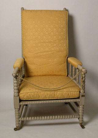 A pair of maple high-back easy armchairs, English, circa 1840