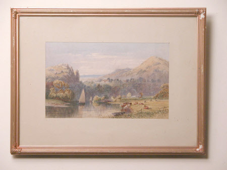 View of a River with two Sailing Boats, Large House, Limekilns with a Mountainous background