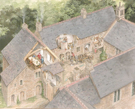 Retainers' Court, Cotehele, Cornwall, around 1560