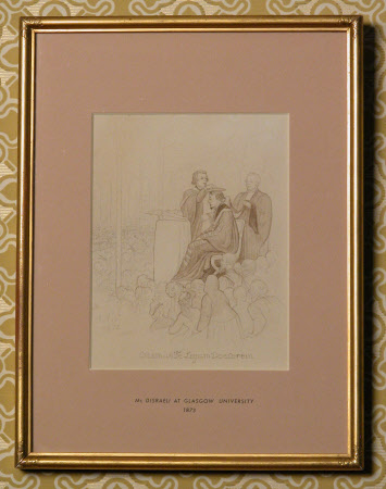 Benjamin Disraeli, 1st Earl of Beconsfield, MP, PC, FRS, KG (1804-1881) being sworn as Rector at ...