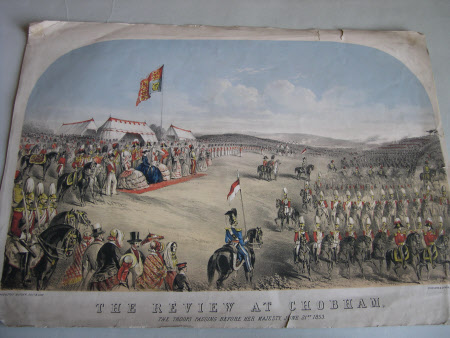 Military Review at Chobham by Queen Victoria, 1853.  A. 'The Queens Visit to the camp at Chobham'. ...