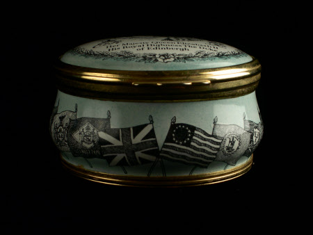 Enamel box commemorating the State Visit of Queen Elizabeth II and the Duke of Edinburgh to the USA ...