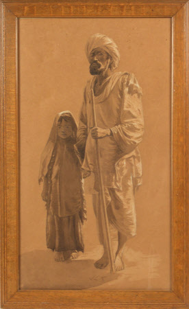 A blind Indian holding the hand of a young girl and with a staff in his other hand
