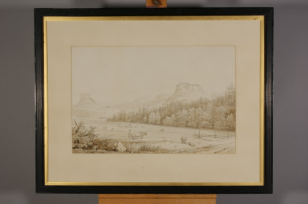 Saxon (?) Landscape with a Castle on a Rock