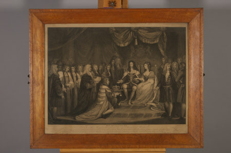 The Revolution, 1688: The Crown being offered to King William III (1650–1702) and Queen Mary II ...