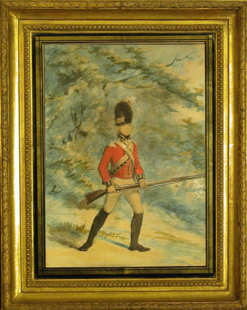 Light Infantry company, Royal Lancashire Militia: Light Infantry soldier, rifle held at the port, a ...