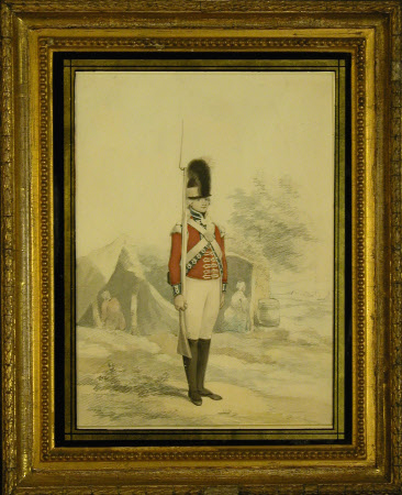 Light Infantry Company, Royal Lancashire Militia: Light Infantry soldier, standing at attention, a ...