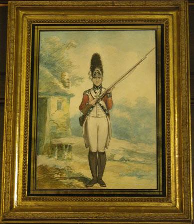 Grenadier Battalion, Royal Lancashire Militia: A Grenadier, rifle held at the port, a cottage ...