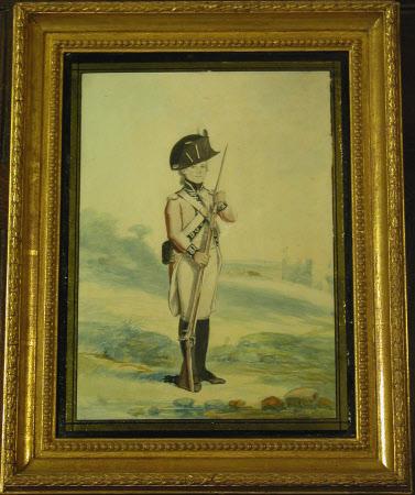 Grenadier Battalion , Royal Lancashire Militia: Soldier of battalion company, standing in a ...