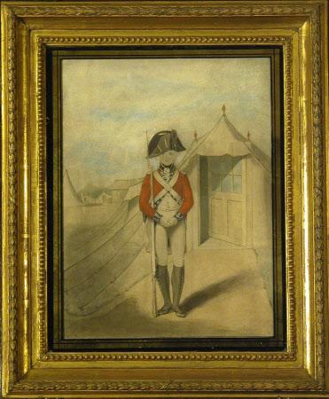 Grenadier Battalion, Royal Lancashire Militia: Soldier of battalion company standing with hands ...