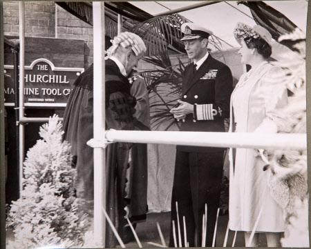 Royal Visit To Broadheath, 17th July 1946: The presentation of A. Glossop, Town Clerk of Altrincham ...