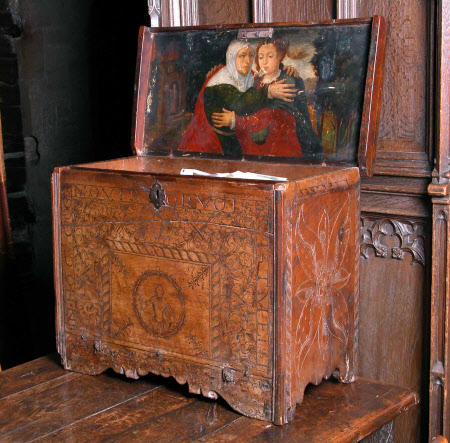 Writing Desk with The Visitation (oil painting on inner lid)