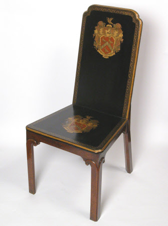 A group of sixteen pieces of Chinese Export armorial lacquered furniture at Osterley Park, circa ...