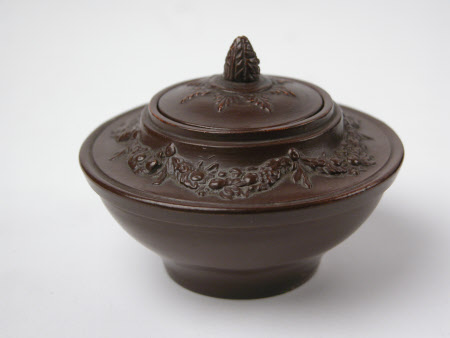 Red earthenware and brown varnish sugar bowl cover