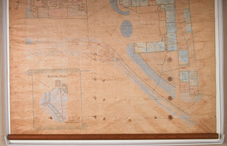 Map of the drainage plans for Osterley, dated 1879.