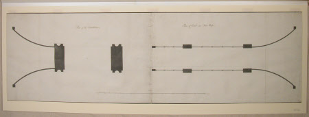Plan of the foundations; Plan of coach and footways