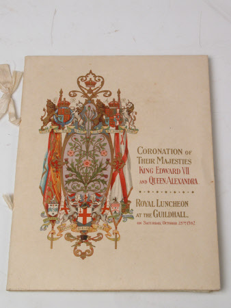 Menu for coronation banquet following coronation of King Edward VII (1841-1910) and Queen Alexandra ...
