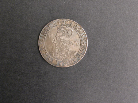 Sixpence silver coin, from the reign of King Charles I (1600-1649)