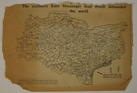 Kent Messenger map of V1 bomb sites in Kent.
