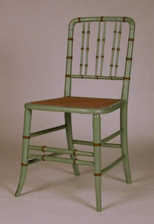 A pair of painted simulated bamboo chairs, English, circa 1930-1950