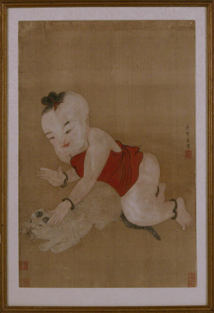 A child restraining a cat catching a Butterfly