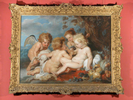The Infants Christ and John the Baptist with two Child Angels, a Lamb, and a Still-Life of Fruit ...