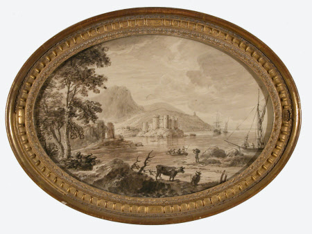 Coast scene with a castle on a promontory, cows in foreground
