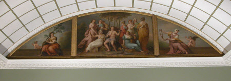 Parnassus, flanked by the Figures of Strength and Temperance (after Raphael)