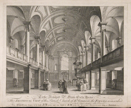 Interior of St Giles-in-the-Fields, London.