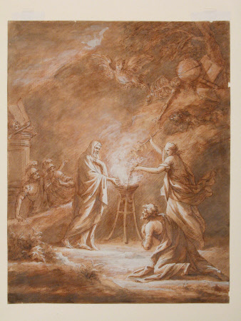 Saul and the Witch of Endor conjuring up the Spirit of Samuel
