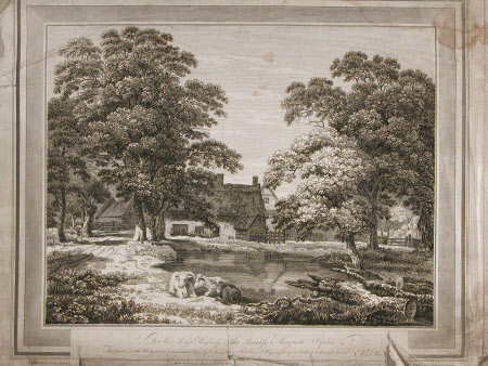 Cottage with trees, pond and cattle