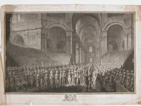 View of the Nave of St. Paul's Cathedral, London, with the royal procession on St. George's Day ...