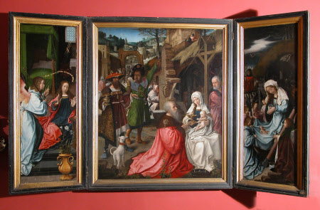 Triptych of The Adoration of the Magi and Shepherds (centre) with The Annunciation (left wing) and ...