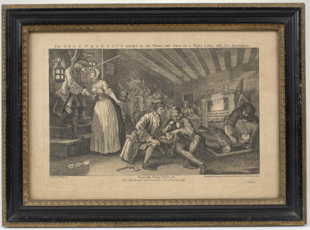 Industry and Idleness - Plate 9. The Idle 'Prentice betrayed by his Whore and taken in a Nigh ...
