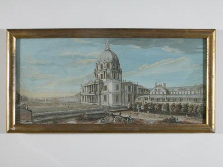 Vue du frontispice de Dome de l'Eglise, et d'une partie des Batiments de l'hotel Royal des Invalides