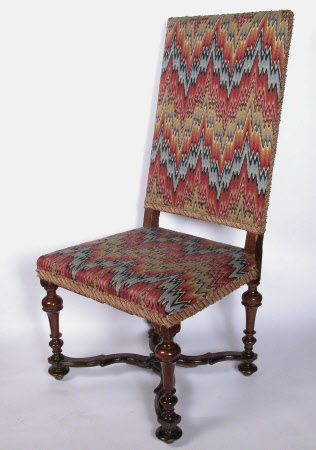 A pair of walnut and upholstered high-back chairs, Franco-Flemish, circa 1700