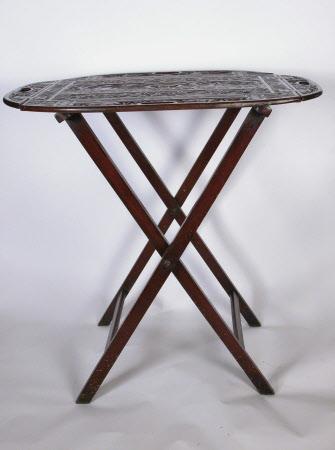 A mahogany Butler's tray on stand, English, circa 1800-1850