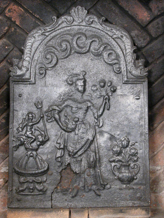 Fireback of a lady holding a bunch of flowers and putto holding trident