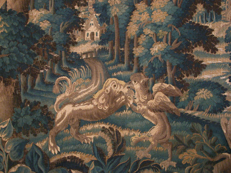 Verdure with Lion and Griffin Fighting