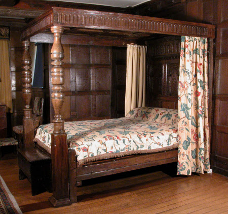 An oak tester bed, English, made up from 17th century parts, 