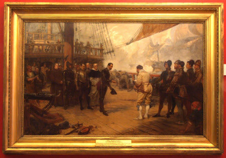 The Surrender of Don Pedro De Valdes to Sir Francis Drake (1540?-1596) on board The Revenge during ...