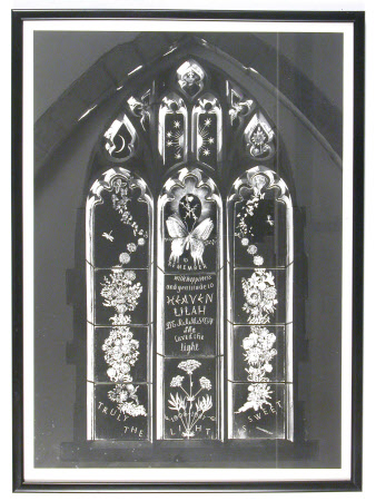 Framed photograph of etched and engraved window in memory of Lilah Helen Suzanne Labouchere, ...
