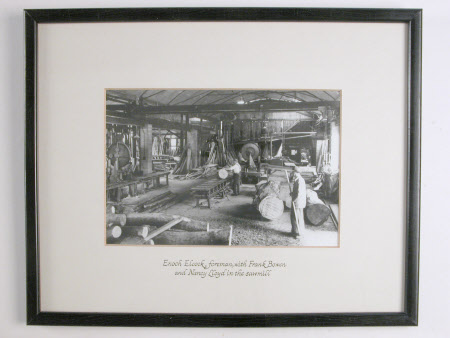 Enoch Elcock, foreman with Frank Bowen and Nancy Lloyd in the sawmill, Dudmaston, Shropshire