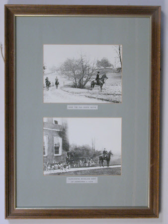 Albrighton Woodland Hunt. A view of the old north drive at Dudmaston and of a meet held at ...