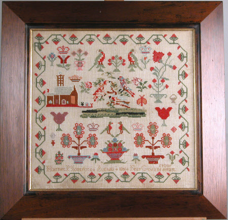 Sampler, a Church, Parrots, Flowers, and Coronets