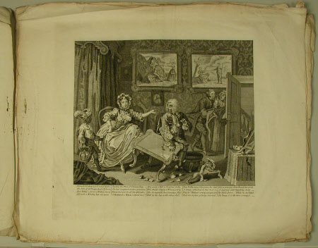 The Harlot's Progress - plate 2. Moll now the kept Mistress of a wealthy London Jew.