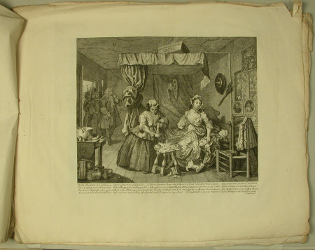 A Harlot's Progress - Plate 3. Moll sets up her business as a Prostitute
