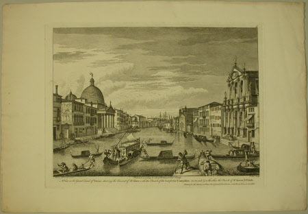 A view on the Grand Canal of Venice showing the convent of St. Clare with the church of the ...